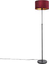 Floor Lamp Black with 35cm Red Velvet Shade - Parte