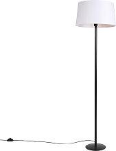 Floor Lamp Black with 45cm Linen White Shade -