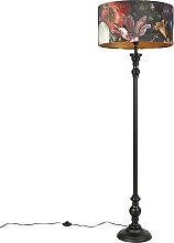 Floor Lamp Black with 50cm Velvet Floral Shade -