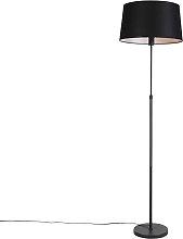 Floor lamp black with black linen shade 45cm