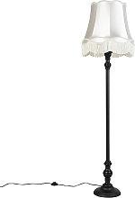Floor Lamp Black with Cream Granny Shade - Classico