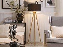 Floor Lamp Black with Light Wooden Frame 140 cm