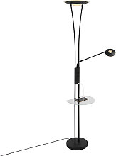 Floor lamp black with reading arm incl. LED and