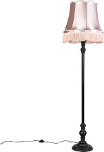 Floor Lamp Black with Rose Pink Granny Shade -