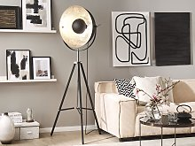Floor Lamp Black with Silver Metal 165 cm Tripod