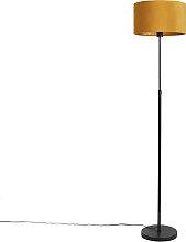 Floor lamp black with velor shade ocher yellow