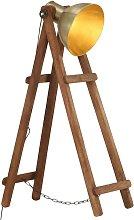 Floor Lamp Brass E27 Solid Mango Wood - Gold -