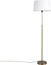 Floor Lamp Bronze with 45cm White Linen Shade -