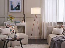 Floor Lamp Copper Metal 148 cm Tripod Stand White