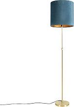 Floor Lamp Gold/Brass with 40/40cm Blue Velvet