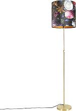 Floor Lamp Gold/Brass with 40/40cm Floral Velvet
