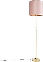 Floor Lamp Gold/Brass with 40/40cm Pink Velvet