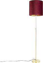 Floor Lamp Gold/Brass with 40/40cm Red Velvet