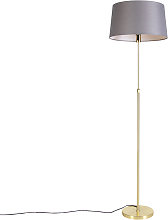 Floor lamp Gold/Brass with 45cm Grey Shade - Parte
