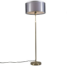 Floor Lamp Gold/Brass with 47cm Black/White Shade