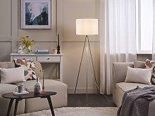 Floor Lamp Gold Metal 148 cm Tripod Stand White