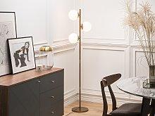 Floor Lamp Gold Metal 3 Round White Shades