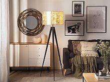 Floor Lamp Gold Polycotton 156H cm Black Metal