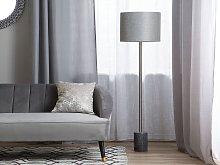 Floor Lamp Grey Marble Base Silver Drum Shade