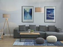 Floor Lamp Grey Polycotton 142H cm Oak Light Wood