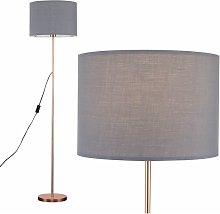 Floor Lamp in Copper with Drum Shade - Grey