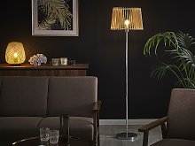 Floor Lamp Light Wood Shade with SIlver Base MDF
