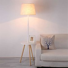 Floor Lamp Linen Shade White Painted Wrought Iron