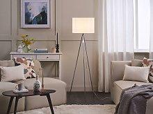 Floor Lamp Silver Metal 148 cm Tripod Stand White