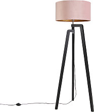 Floor lamp tripod black with pink shade and gold