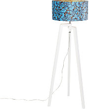 Floor lamp tripod wood with butterflies velor