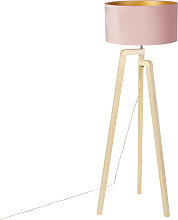 Floor lamp tripod wood with pink velor shade 50 cm