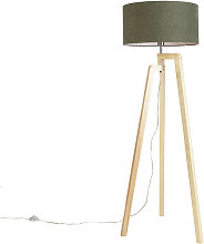Floor lamp tripod wood with shade 50 cm green -