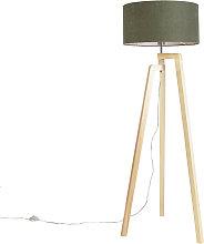 Floor lamp tripod wood with shade 50 cm green -