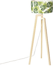 Floor lamp tripod wood with shade leaf - Puros