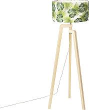 Floor lamp tripod wood with shade leaf - Puros