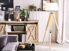 Floor Lamp White Polycotton Shade Light Wood Legs