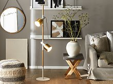 Floor Lamp White with Gold Metal 125 cm Adjustable