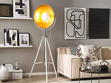 Floor Lamp White with Gold Metal 165 cm Tripod