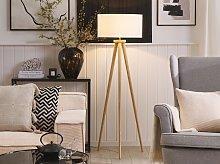 Floor Lamp White with Light Wooden Frame 140 cm