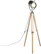 Floor lamp with wooden tripod and studio spot -