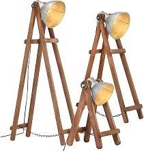 Floor Lamps 3 pcs Silver E27 Solid Mango Wood -