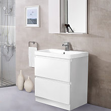 Floor Standing 2 Drawer Vanity Unit Basin Storage