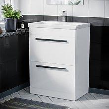 Floor Standing Cabinet 2 Drawer 600mm Vanity Unit