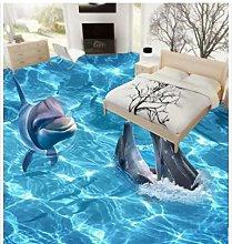 Floor Wallpaper 3D for bathrooms Dolphin Ocean 3D