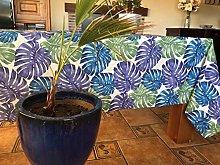 FLORA 140X350 CMS Printed Canvas Tablecloth Blue