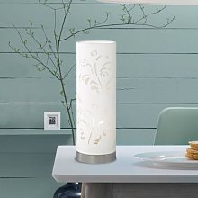 Flora tube-shaped table lamp white with décor