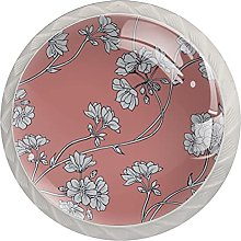 Floral, 4Pack ABS Dresser Knobs Cabinet Round