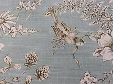 Floral Bird Toile Sea Spray Beige Grey Cotton