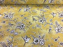 Floral Bird Toile Yellow/Grey Cotton Designer