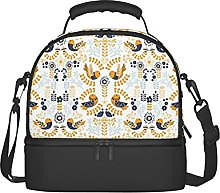 Floral Birds Purple Insulated Lunch Bag Double